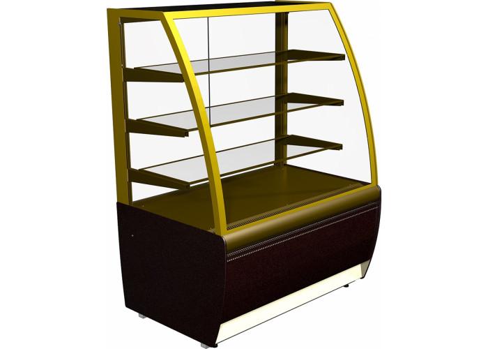 Кондитерская витрина CARBOMA ЛЮКС K70 VV 0.9‑1 (ВХСв‑0.9д) brown&gold