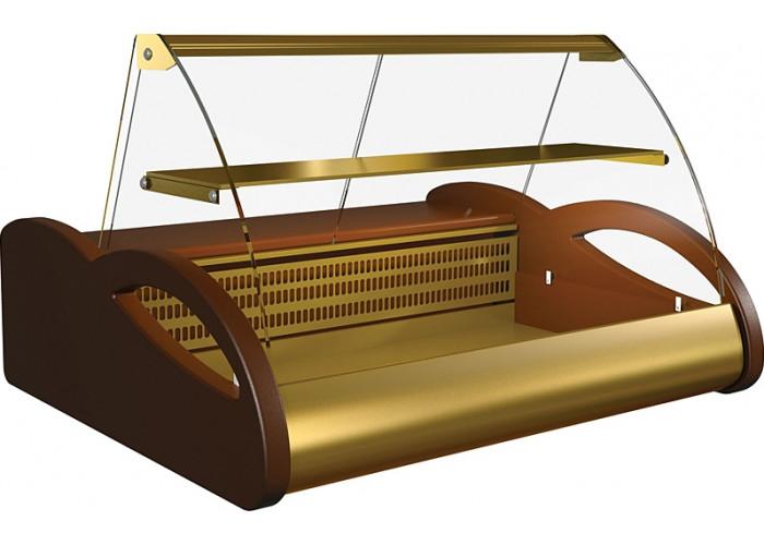 Морозильная витрина ПОЛЮСA87 SV 1.5‑1 (ВХСн‑1.5) brown&gold